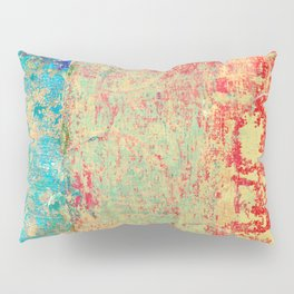 Brilliant Encounter, Abstract Art Turquoise Red Pillow Sham