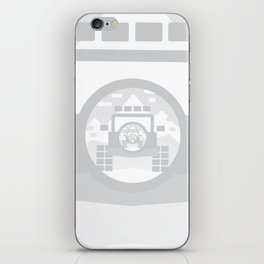 Light Grey digital drawing of a 4x4 adventure vehicle in the mountains iPhone Skin