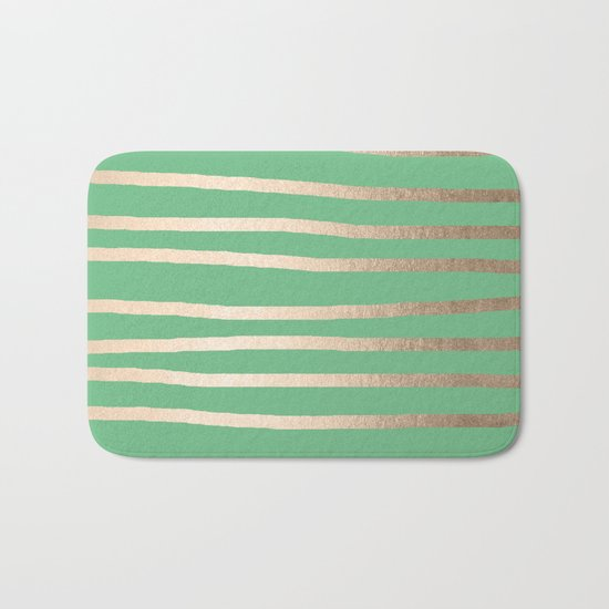Abstract Drawn Stripes Gold Tropical Green Bath Mat