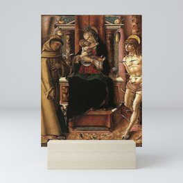 The Virgin and Child with Saints Francis and Sebastian by Carlo Crivelli Mini Art Print
