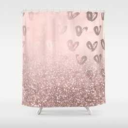 Rose Gold Sparkles on Pretty Blush Pink with Hearts Shower Curtain