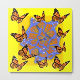 MONARCH BUTTERFLIES ABSTRACT ON YELLOW-GOLD Metal Print