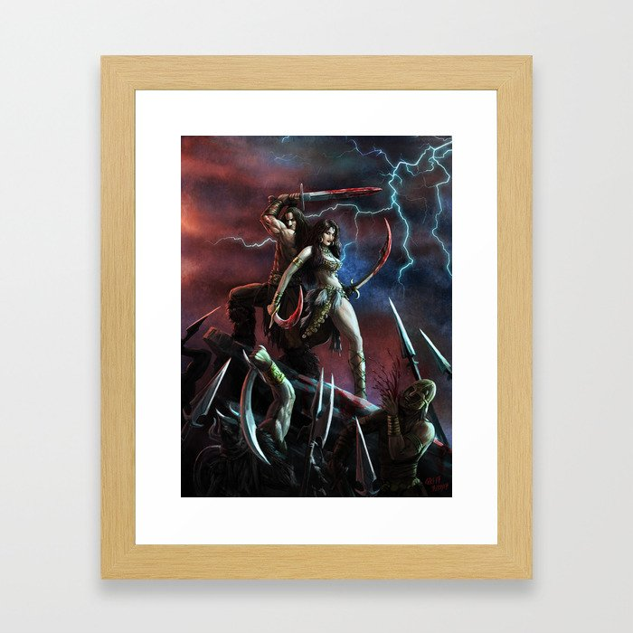 Barbarian and the Bellydancer Framed Art Print