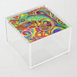 Psychedelizard Colorful Psychedelic Chameleon Rainbow Lizard Acrylic Box