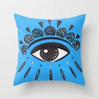 kenzo Throw Pillows featuring Kenzo eye blue by cvrcak