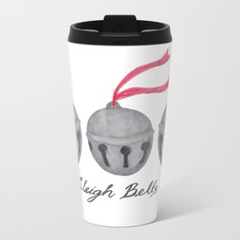 Sleigh Bells in Watercolor - White Travel Mug