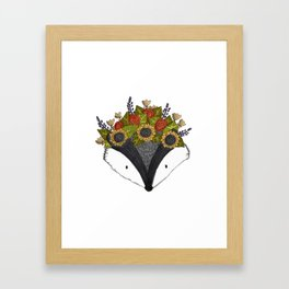 Foral Badger Framed Art Print