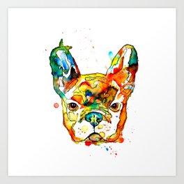 Colorful french bulldog Art Print