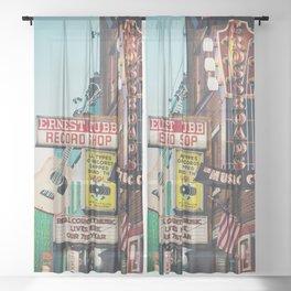 Lower Broadway, Nashville print  Sheer Curtain