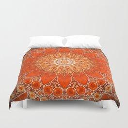 Detailed Orange Boho Mandala Duvet Cover