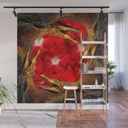 RED BLOODY HIBISCUS FLOWERS ALLIGATORS GOLD ART Wall Mural
