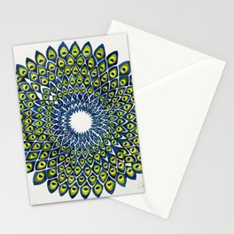 Peacock Feather Mandala – Navy & Lime Palette Stationery Cards