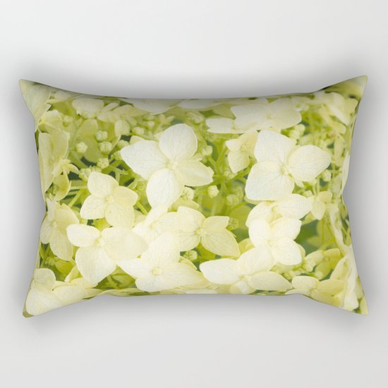 The flowers of white hydrangeas. Rectangular Pillow