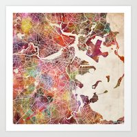 boston map Art Prints featuring Boston by MapMapMaps.Watercolors