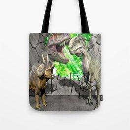 3D Dinosaurs and Broken Wall Tote Bag