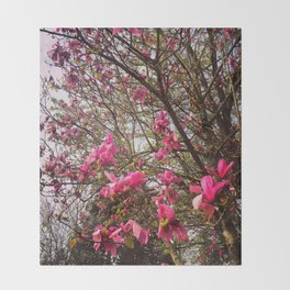 Tulip Trees (Spring in Portland) Throw Blanket