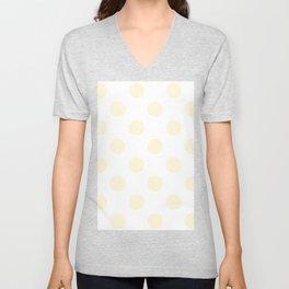 Large Polka Dots - Cornsilk Yellow on White Unisex V-Neck