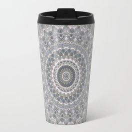 Mandala in white, grey and silver tones Travel Mug