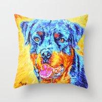 rottweiler Throw Pillows featuring Rottweiler by LiliyaChernaya
