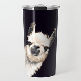 Sneaky Llama in Black Travel Mug