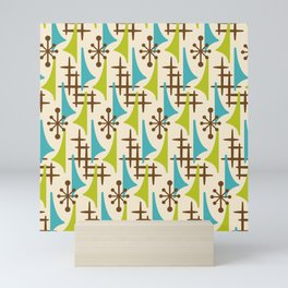 Retro Mid Century Modern Atomic Wing Pattern 423 Brown Olive Green and Turquoise Mini Art Print