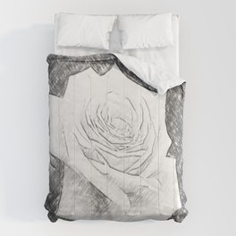 Pink Roses in Anzures 4 Charcoal Comforters