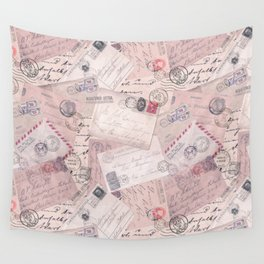Nostalgic Letter and Postcard Collage Soft Pink Wall Tapestry