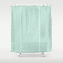Mint Triangles by Friztin Shower Curtain