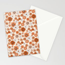 Monday Flowers - 70s retro floral, flowers, terracotta, rust, brown, earth tones, muted, happy  Stationery Cards