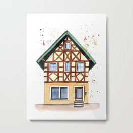 Half-timbered whimsical house in watercolors Metal Print