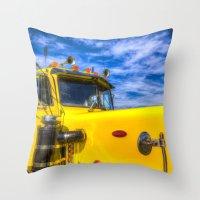 truck Throw Pillows featuring Peterbilt Truck by David Pyatt