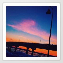 Casco Bay Bridge Sunset Silhouette Art Print