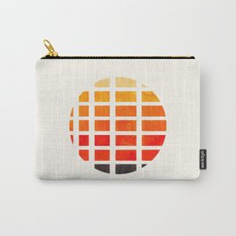 Watercolor Colorful Orange Minimalist Mid Century Modern Square Matrix Geometric Pattern Round Circl Carry-All Pouch