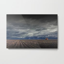 Lightning Storm over Field Furrows on a Southeast Texas Farm with Red Barn Metal Print