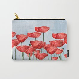 Poppyfield poppies poppy blue sky - watercolor artwork Carry-All Pouch