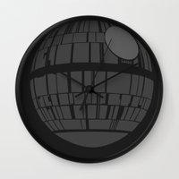 death star Wall Clocks featuring Death Star by olive hue designs