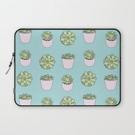 Green suculents in pink flowerpots on mint background Laptop Sleeve