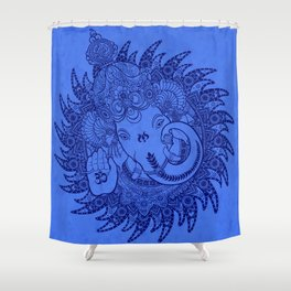 Ganesha Lineart Blue Shower Curtain