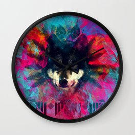 Wolf and the colors, colors, pink, blue, flower, feathers,  Wall Clock