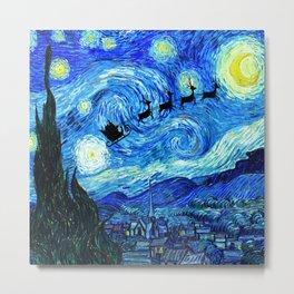 Santa Flying Starry Night Metal Print