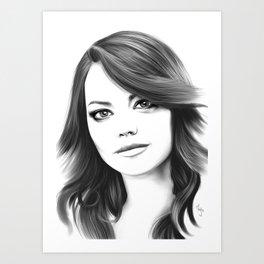 Emma Stone minimalist digital portrait Art Print