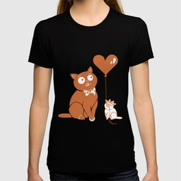 Valentine Cats with Heart Balloon T-shirt