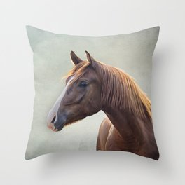 Horse. Drawing portrait Throw Pillow