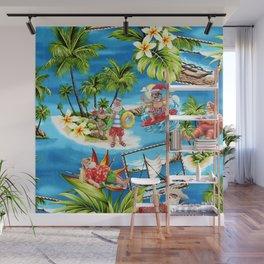 Funny Santa, Funny Hawaiian Style, Santa Claus Shirt, Amazing Merry Christmas, Christmas Pattern Wall Mural