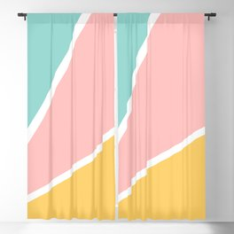 Tropical summer pastel pink turquoise yellow color block geometric pattern Blackout Curtain