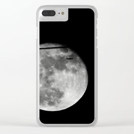 Airplane Passes 2016 Super Moon Clear iPhone Case