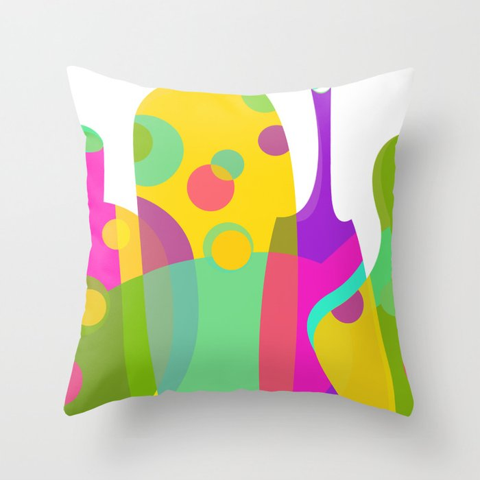 Colorful Funky Bottle Shapes I Throw Pillow by graphictabby  463e43533