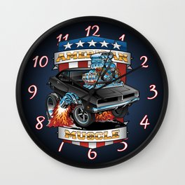 American Muscle Patriotic Classic Muscle Car Cartoon Illustration Wall Clock