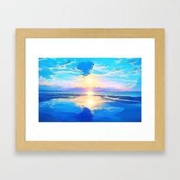 Sunset on the sea Framed Art Print