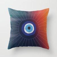 evil eye Throw Pillows featuring Evil Eye by DuckyB